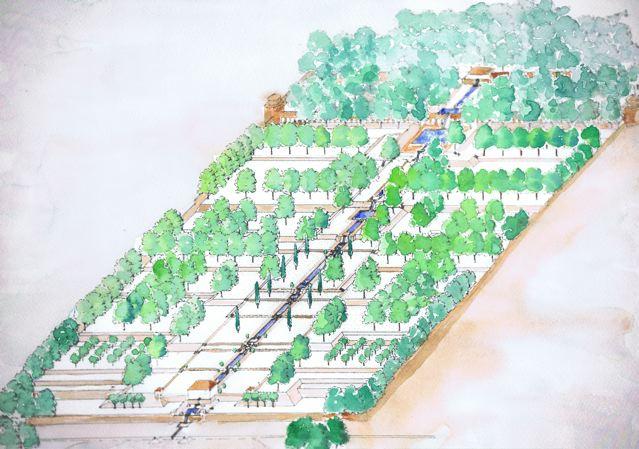1 ejemplo de jardin persa acuarela de pepa valderrama for Jarrones persas