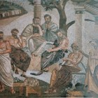 1- platon en los jardines-mosaico de La Academia de Platon en el museo nacional de Napoles