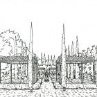 5-Perspectiva jardin de la alberca ByN