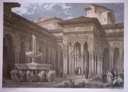 8- grabado del patio de los leones de la Alhambra
